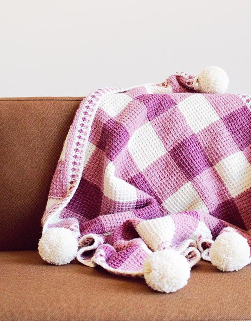 Sweet Gingham Baby Blanket Tunisian Crochet Plaid Blanketbr