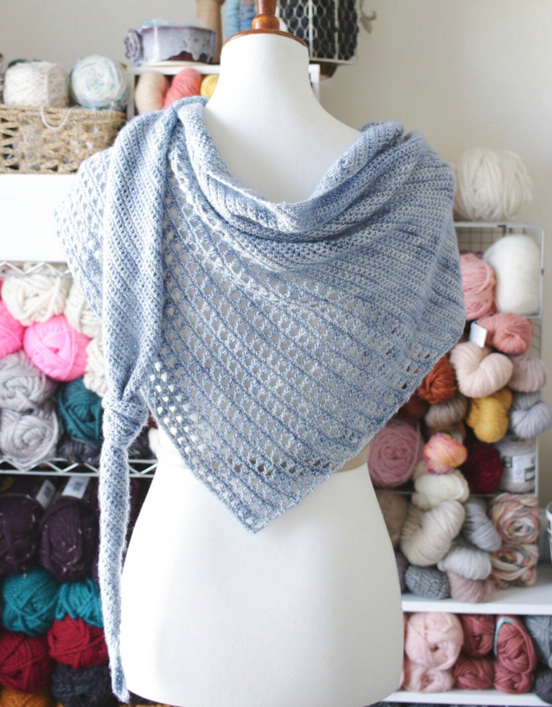 Coles River Kerchief, fingering weight crochet triangle shawlSaturdays, May 18 & 25th, 12-1:30pm