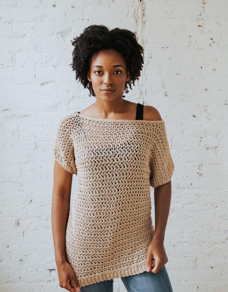 Summertime Tee, beginner-friendly mesh crochet topSaturdays, June 15 & 22nd, 1-3pm