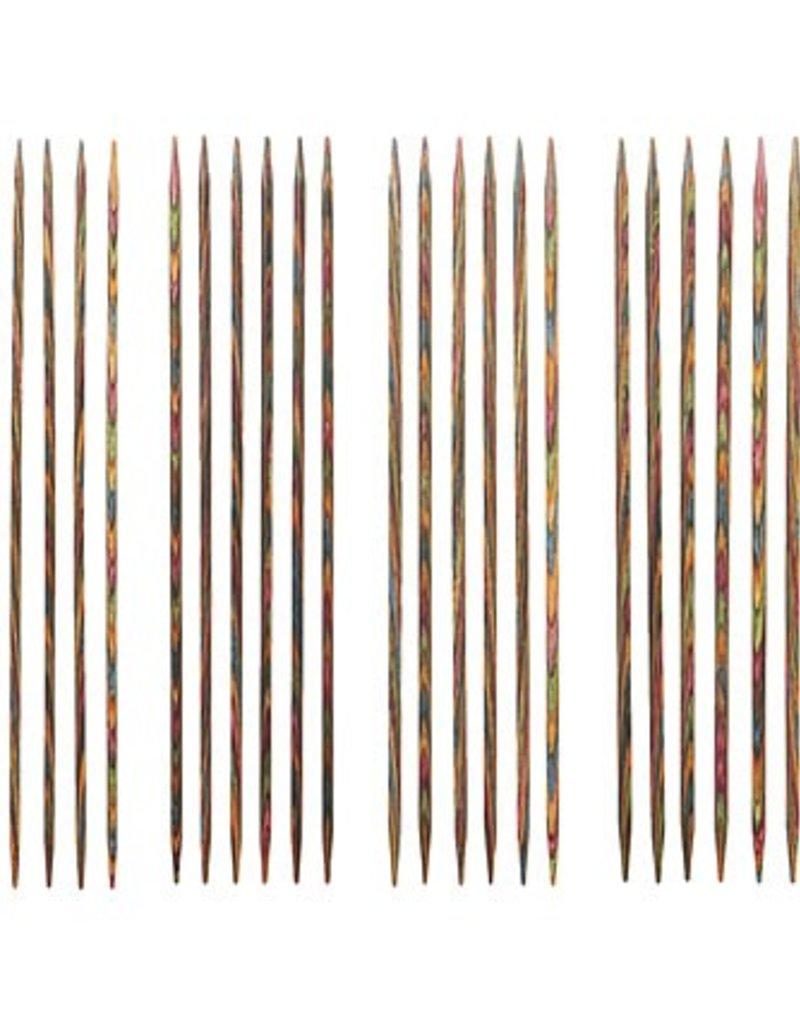 """Knitpicks 6"""" Rainbow Wood Double Pointed Knitting Needle Set, US 0-3"""