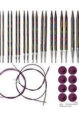 Knitpicks Options Interchangeable Rainbow Wood Circular Knitting Needle Set, US 4-11