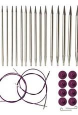 Knitpicks Options Interchangeable Nickel Plated Circular Knitting Needle Set, US 4-11
