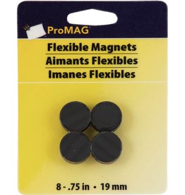 "ProMag Flexible Round Magnets, 3/4"" QTY8"