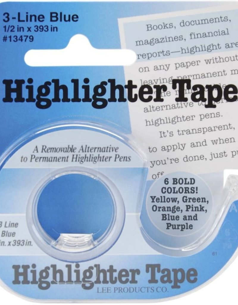"Highlighter Tape, Blue, 1/2""X393"""