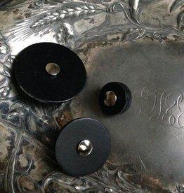 "Jul Designs Jul Black Leather Pedestal Button 1.5"""