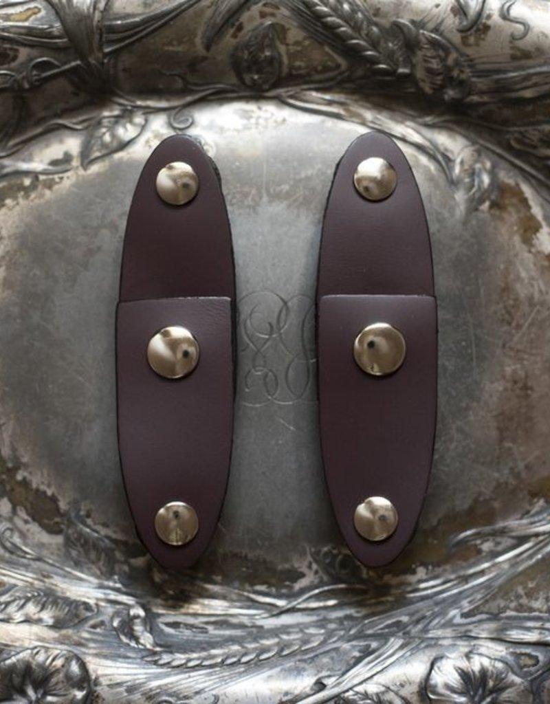Jul Designs Jul Oval Latch Leather Snap Closure - Aubergine