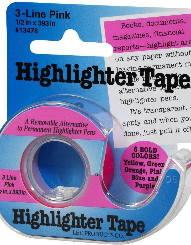 "Highlighter Tape, Pink, 1/2""X393"""