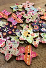 "Yarn it & Haberdashery Large Wooden Star Button 1"" assorted patterns"