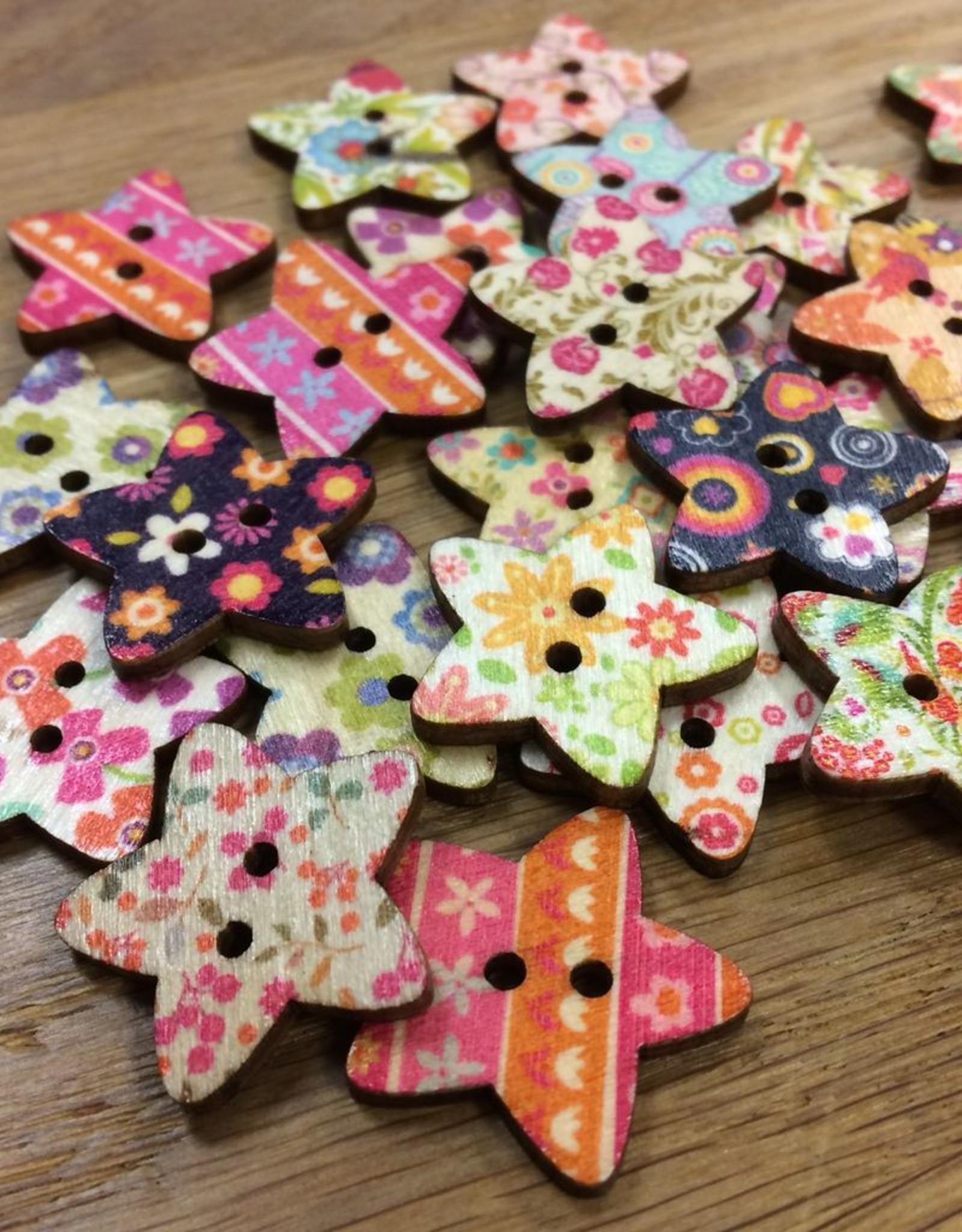 "Yarn it & Haberdashery Large Wooden Star Button 1"" assorted patterns"