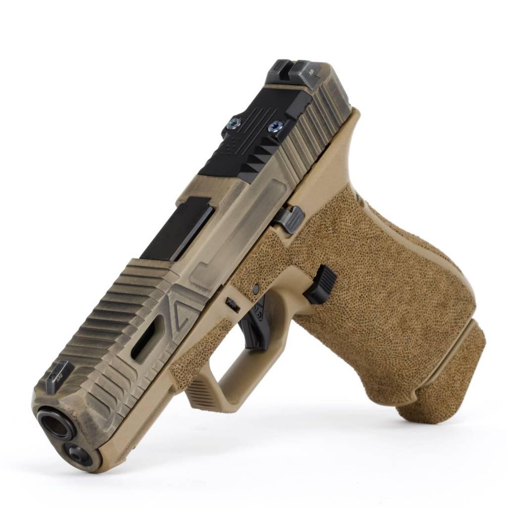 Agency Arms Agency Arms Glock 19X Gavel w/ Windows Battle Worn Coyote, RMR, Standard Stipple