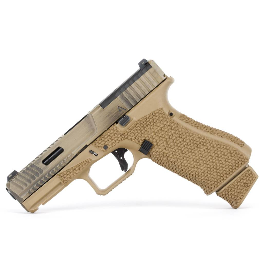 Agency Arms Agency Arms Glock 19X Peacekeeper AOS Battle Worn Coyote, Aggressive Stipple