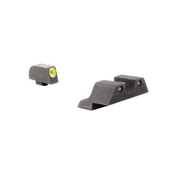 Trijicon Trijicon HD Night Sight Set Glock 17, 19, 22, 23, 24, 26, 27, 33, 34, 35 Gen 1, 2, 3, 4, 5 Steel Matte 3-Dot Tritium Green with Front Dot Yellow Outline