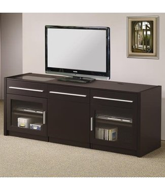 Coaster Cappuccino TV Media Console Stand with Built in Power Strip 700674