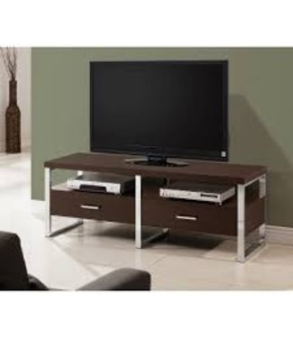 Coaster Maeve Cappuccino & Chrome Media Console TV Stand 700774