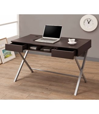 Coaster Modern Cappuccino Writing Desk with Brushed aluminium Legs 800117