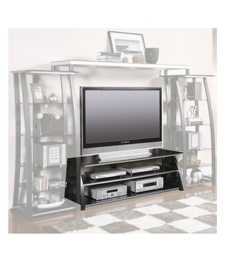 Coaster Contemporary Matte Black TV Console with Smoke Black Tempered Glass Shelves 700681