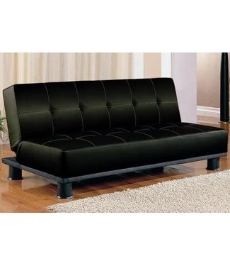 Coaster Black  Faux Leather Adjustable Futon Sofa Bed 300163