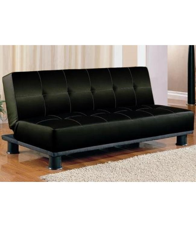 Black Faux Leather Adjustable Futon Sofa Bed 300163