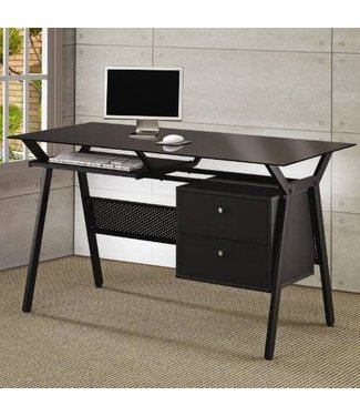 Coaster Casual Black Computer Desk with Black Tempered Glass Top 800436