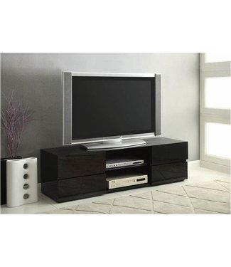 "Coaster 55"" Wide Glossy Black 700841 Coaster TV Stand Console"