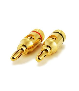 1 Pair High-Quality Gold Plated Speaker Banana Plugs, Open Screw Type  (#2943)