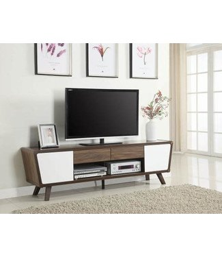 "Coaster 74"" Wide Glossy White/Dark Walnut 700793 Coaster TV Stand Console"