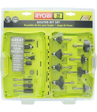 RYOBI Shank Carbide Router Bit Set (15-Piece)