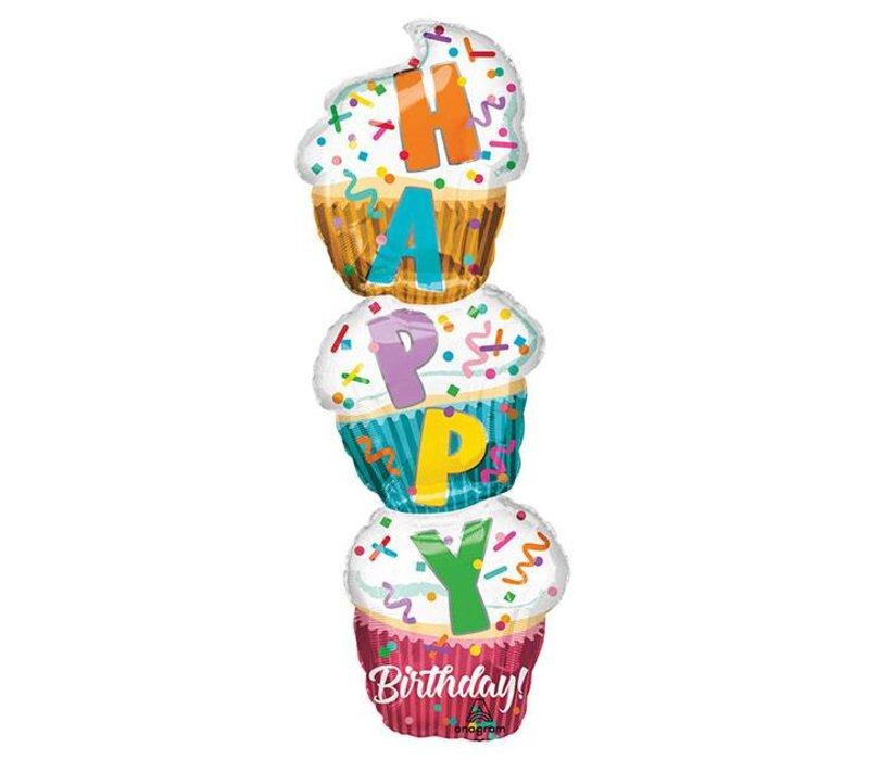 "41"" Stacked Cupcake Mylar Balloon"