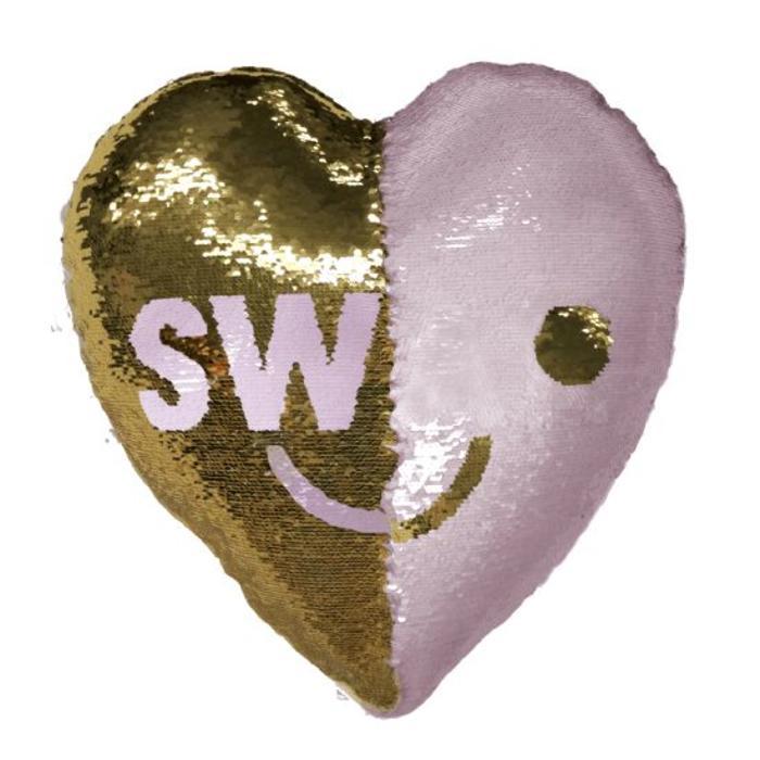 Reversible Sequin SWAK/Heart Pillow