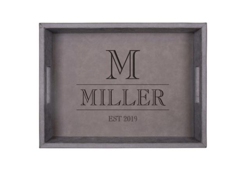 Grey Faux Leather Tray- Personalized