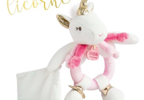 Doudou Unicorn Rattle with small Blanket