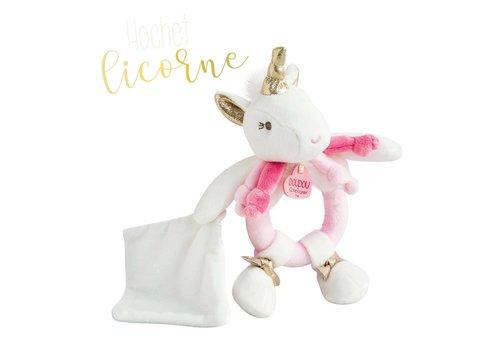 Doudou Unicorn Rattle with small Blanket