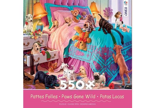 Paws Gone Wild 550 Piece Puzzle-  Naughty Puppies