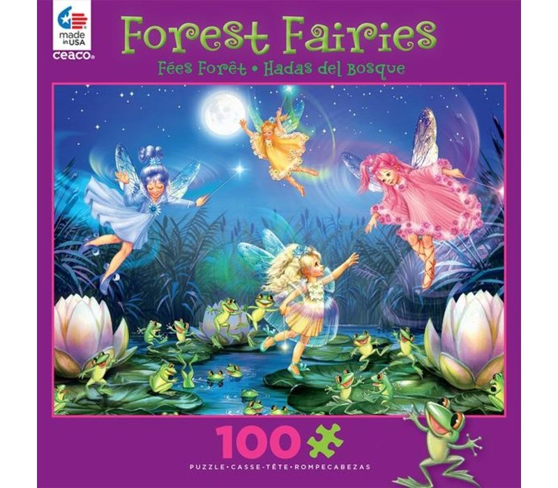 Forrest Fairies Glitter 100 Pc Puzzle- Fairies With Dancing Frogs