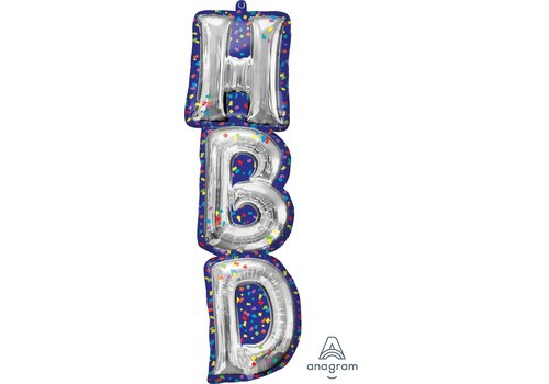 Anagram HBD Confetti super shape mylar balloon