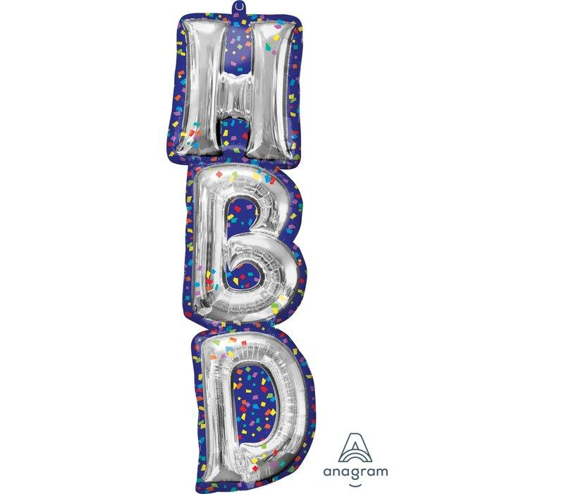 HBD Confetti super shape mylar balloon