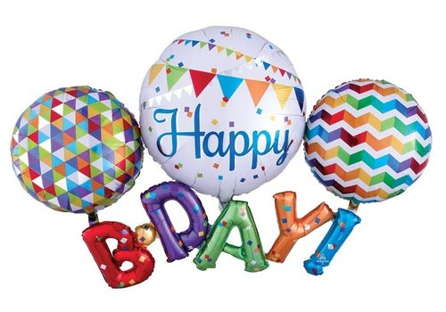 Anagram HBD Rainbow Multi Balloon Mylar
