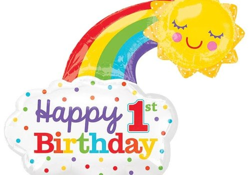 "Anagram Happy 1st Birthday Rainbow 30"" mylar balloon"