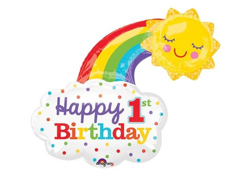 "Anagram Happy 1st Birthday Rainbow 30"" mylar balloon"