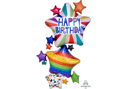 Anagram HBD Bright multi stars mylar balloon