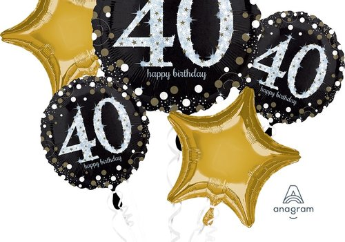 Anagram Happy 40 Birthday mylar balloon bundle