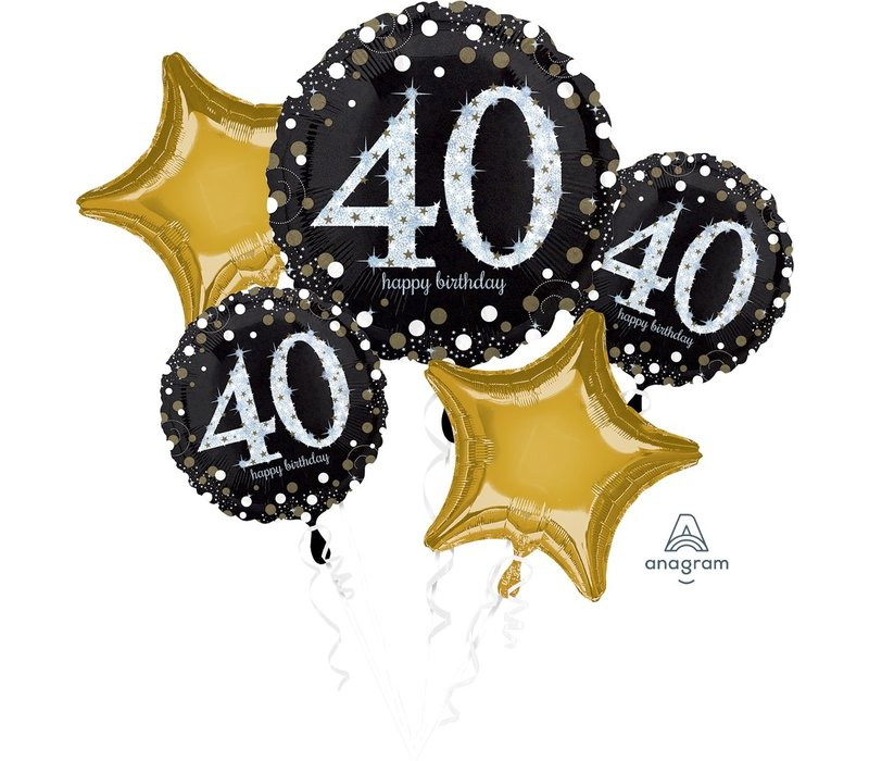 Happy 40 Birthday mylar balloon bundle