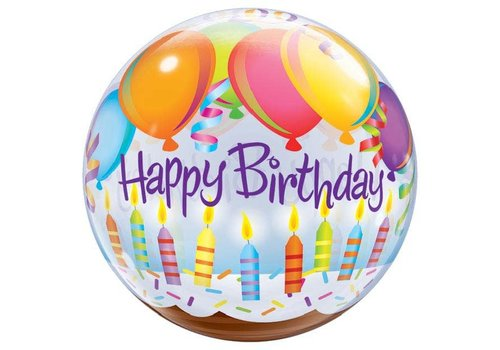 Qualatex HAPPY BIRTHDAY BUBBLE BALLOON 22""