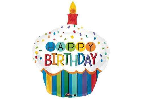 """Burton and Burton 36"""" HBD Cupcake Mylar balloon"""