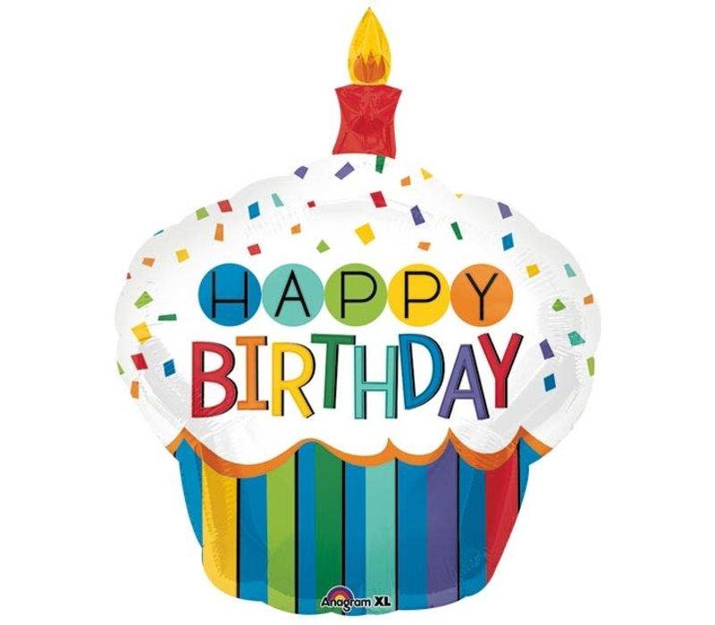 """36"""" HBD Cupcake Mylar balloon"""