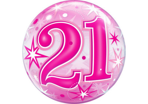 Qualatex Pink 21 Deco Bubble Balloon
