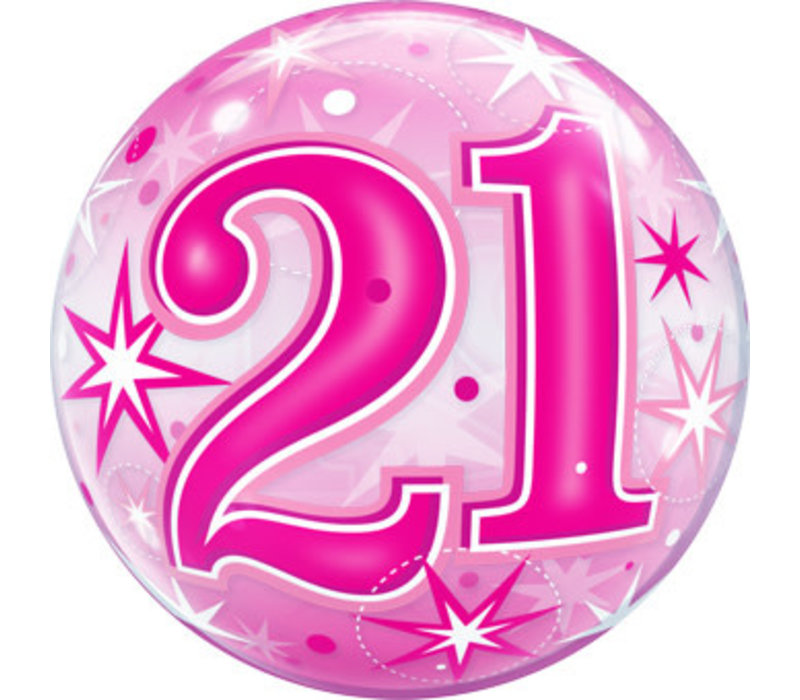 Pink 21 Deco Bubble Balloon