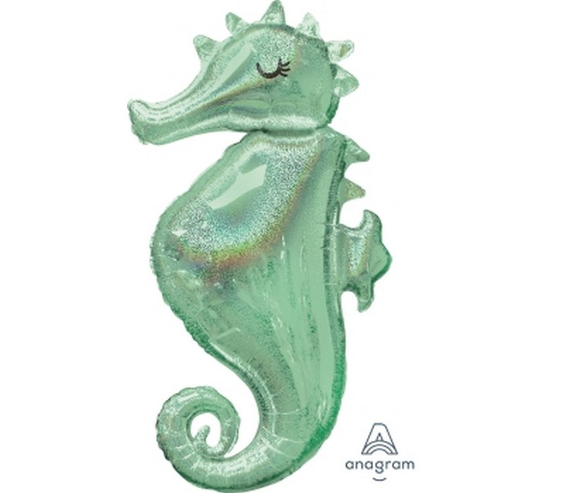 "Holographic SEAHORSE 38"" Mylar Balloon"