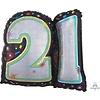 BRILLIANT BIRTHDAY 21 mylar balloon