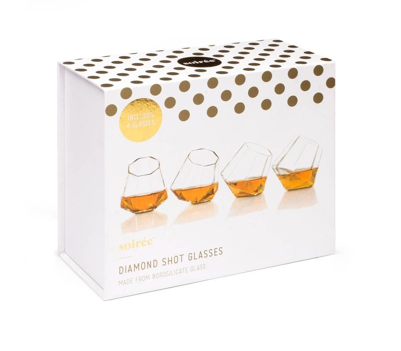 Diamond Shot Glasses Set of 4 Soiree packaging U
